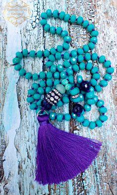 Purple Silk Tassel Necklace, #VintageRoseGallery , #etsy  Tassel Necklace, Purple - Green  Boho Chic Statement Necklace,  Gift for her by VintageRoseGallery
