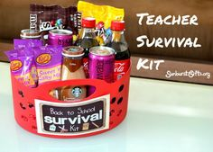 Teacher Survival Kit | Back to School Gift: Here's what my Teacher Survival Kit contained: bottles of Coke, bottles of Starbucks Coffee Frappuccino, Regular M&M's Candy, M&M's Peanut Candy, VitaminWater energy drinks and Sweet 'n Salty Trail Mix. For the final touch, I taped to the gift basket a cute Back to School Teacher Survival Kit sign.