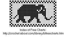 Elephant Chart For Filet or Cross Stitch or knitting / why not make it into a lace!