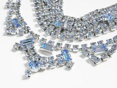 Vintage Blue Crystal Rhinestone Choker & by GrandVintageFinery, $52.95