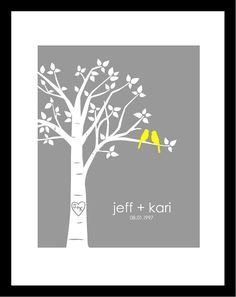 Personalized Custom Love Birds Family Tree - Wedding Gift - First Anniversary Paper Gift - Poster Print (Yellow/Gray) First Anniversary Paper, Anniversary Gifts, Wedding Anniversary, Great Wedding Gifts, Personalized Wedding Gifts, Gift Wedding, Tree Wedding, Our Wedding, Wedding Ideas