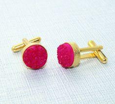 D9401 Monsoon Sale ! 12 mm Pink Sugar Druzy 24k Gold Plated Cufflinks For Men #Handmade