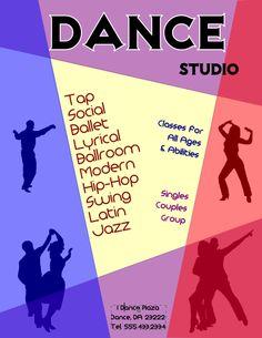 Dance Studio Flyer Template in Inkscape | FlyerTutor.com…
