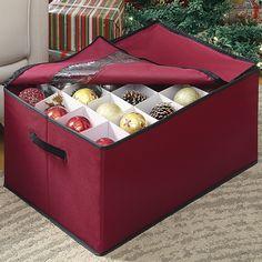 Whitmor Christmas Ornament Storage Box WhiteRed Trim Fabric