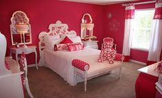 Pink and White Girls Bedroom