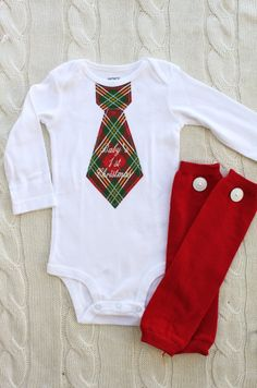 Baby Boy Personalized Tie Bodysuit and Leg Warmers Set. Baby's 1st Christmas or ANY.  Red Green Argyle Plaid, First 1st Birthday Outfit on Etsy, $31.95