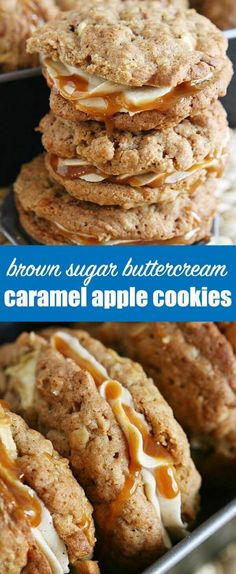 Soft and chewy caramel apple cookie sandwiches with brown sugar and cinnamon buttercream frosting and drizzled with salted caramel. Brown Sugar Cookies, Best Sugar Cookies, Caramel Apple Pie Cookies, Caramel Apples, Crinkle Cookies, Easy Desserts, Delicious Desserts, Dessert Recipes, Fall Cookie Recipes
