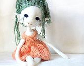 Meadow the Dancing Elf - handmade OOAK  plush dress-up doll with crochet bamboo yarn dress and shoes