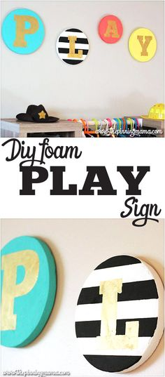 DIY Playroom sign - Making it out of this couldn't be more perfect for a playroom. Plus it is inexpensive and easy!