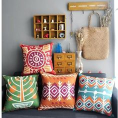 Colourful Bohemian Style Home Decor Throw Pillow Case Cushion Cover Square 18""