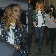 ♪ღ♪♪♪Rihanna♥✿♪ღ♪♪ღ♪ ♪ღ♪♪ღ♪Fashion Queen♪ღ♪♪ღ♪ ✿♪♪♪╰⊰✿♪♪♪╰⊰✿♪♪♪╰⊰✿♪♪♪╰⊰✿´ ♕♪♫ ♪♫ ♪♫ ♪♕♪♫ ♪♫ ♪♫♕ Rihanna in Givenchy airplane print bomber jacket, Marni striped cuff jeans, black Timberland boots, Jennifer Fisher Jewelry rings and cuffs.