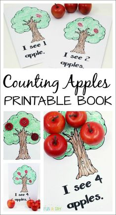 This free printable apple counting book is perfect for a preschool or kindergarten apple theme. An engaging way to explore early literacy and math concepts. Preschool Apple Theme, Free Preschool, Preschool Printables, Toddler Preschool, Free Printables, Preschool Apples, Preschool Teachers, Kindergarten Math, Early Learning Activities