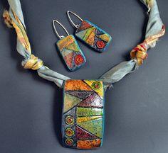 Multicolored Tiles by Margit Bohmer (polymer clay & sari silk)