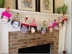 How fun is this adorable birthday photo banner?   I love the way that each party hat is decorated in a different style – that would be a fun little project to do with friends or family before the party.