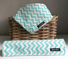Teal Chevron Dribble Bib / Burp Cloth