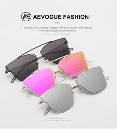 AEVOGUE Women s Sunglasses Metal Frame Reflective Coating Mirror Flat Panel  Lens Brand Designer Sun Glasses Oculos 6f34973180