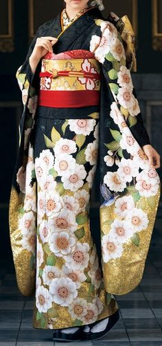 I love the print on this furisode (kimono) Japanese Outfits, Japanese Fashion, Asian Fashion, Look Fashion, Japanese Clothing, Tokyo Fashion, Fashion Women, Traditional Kimono, Traditional Fashion