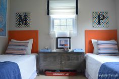 Shared brothers' bedroom. Orange and blue boy's bedroom from Simplicity In The South.