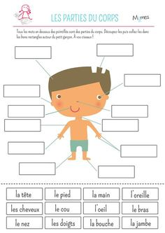 BETTER IDEA-Let the students draw their own body like crime scenes on large paper and label their body parts.French Parts of the Body Cut and Paste Worksheet: Les parties du corps Teaching French, French Body Parts, French Worksheets, Worksheets For Kids, Printable Worksheets, Free Printable, French Kids, French Education, Toddler Learning Activities