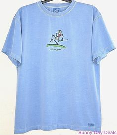 Life Is Good T Shirt Cotton Pump Putt Golf Short Sleeve Tee Crusher Blue Crew XL…