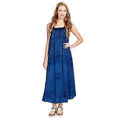 OSO Casuals® Woven Sleeveless Embroidered Maxi Dress