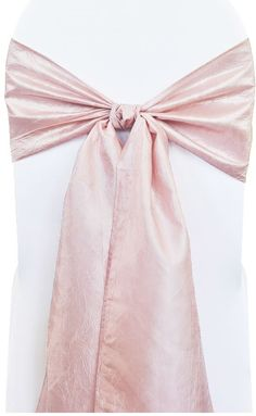 Blush pink crushed taffeta chair sash  ... http://www.weddinglinensdirect.com/9crtachsablp.html