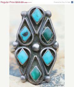 Valentine Sale Vintage Southwestern Zuni Sterling Silver Turquoise Ring