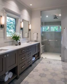 Grey And White Cool Master Bathroom With Walk In Shower Shower