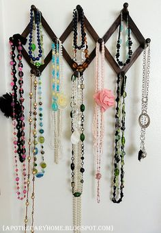 Simple idea for hanging long necklaces.