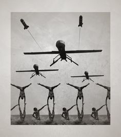 Unmanned drones and synchronised swimmers