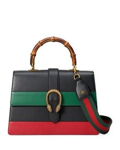 Dionysus Gucci Striped Bamboo Top-Handle Bag, Black/Green/Red