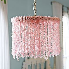 rose quartz chandelier - love this for a little girls room or a nursery!
