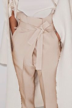 Spring pastels / high waisted crossover pants - love