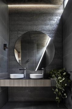 This moody Melbourne house extension by local studio Branch Studio Architects features dark rammed-charcoal walls, window nooks and an outdoor bathtub. Bathroom Interior, Home Interior, Modern Bathroom, Interior Design, Interior Modern, Charcoal Walls, Outdoor Bathtub, Melbourne House, Toilet Design