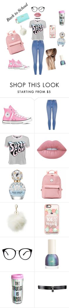 """#Back2School"" by tala-j-moallem ❤ liked on Polyvore featuring Converse, River Island, Disturbia, Lime Crime, Marc Jacobs, Charlotte Russe, Casetify, Fallon and Juicy Couture"