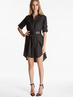 Genetic -Cotton Shirtdress With Belt-Black-0