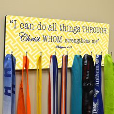 Hooked On Medals Hanger I Can Do All Things | Running Medal Hangers | Running Medal Displays | Medal Displays for Runners
