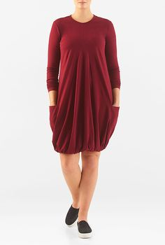 I <3 this Elastic hem cotton knit dress from eShakti