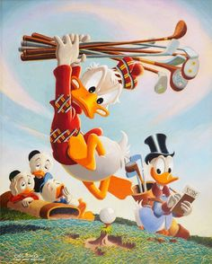 Disney Cartoon Characters, Disney Cartoons, Golf Art, Golf Humor, Disney Scrapbook, Play Golf, Vintage Disney, Cartoon Wallpaper, Golf Tips