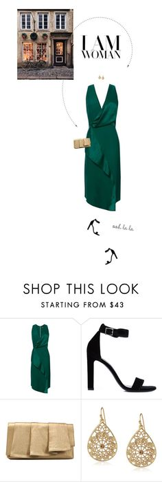 """""""Green Drape Front Midi Dress."""" by xabbielou ❤ liked on Polyvore featuring Topshop, Yves Saint Laurent, La Regale, 1928 and GET LOST"""