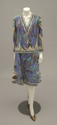 1970s, Italy - Ensemble: Shirt and Skirt by Emilio Pucci - Blue, grey and cream wool twill