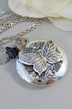 Etched ButterflyNecklaceLocketButterfly by ValleyGirlDesigns, $31.00