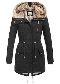 Blend kapuzen mantel damen schwarz warme wintermantel