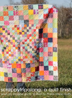 quilting: a scrappy finish - imagine gnats Quilting Projects, Quilting Designs, Sewing Projects, Pink Quilts, Scrappy Quilts, Patch Quilt, Quilt Blocks, Postage Stamp Quilt, How To Finish A Quilt