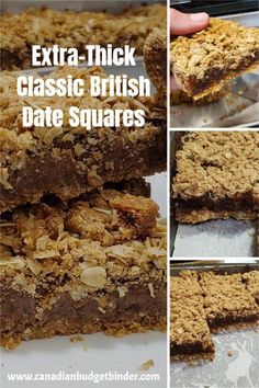 These extra-thick Classic British Date Squares are date squares that are  easy to make. The crust is thick, the filling even thicker and the oats  are flavoured with delicious cinnamon. If you are looking for that date  squares old-fashioned recipe this is the best date squares recipe ever.
