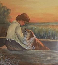 I bought this lovely piece outside of Seattle about 30 years ago and am assuming the artist was from the Pacific Northwest. Wonderful depiction of a young woman with her collie in a rowboat just prior to dusk. | eBay!