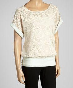 Another great find on #zulily! Mint & Cream Floral Lace Top - Women by Select Brands #zulilyfinds