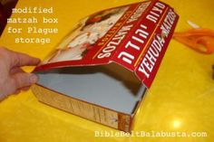 modify a matzah box to store Plague toys and use at seder table (w/ guide inside lid). #Passover