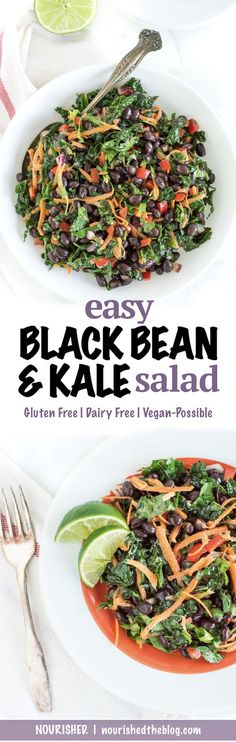 Easy Black Bean and Kale Salad Gluten free, dairy free, vegetarian, vegan possible recipe Perfect for lunch all week or as a veggie-packed side dish to serve with dinner. Gluten Free Recipes, Vegetarian Recipes, Healthy Recipes, Vegan Vegetarian, Snacks Recipes, Simple Recipes, Quick Recipes, Recipies, Paleo
