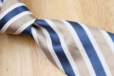 $225+ BRIONI Beige Navy Weave Striped Pattern mens Silk Tie #Brioni #NeckTie